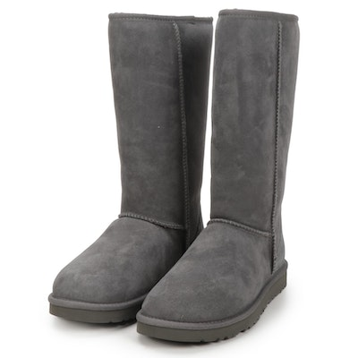 UGG Australia Classic Tall Boots in Grey Suede and Sheepskin