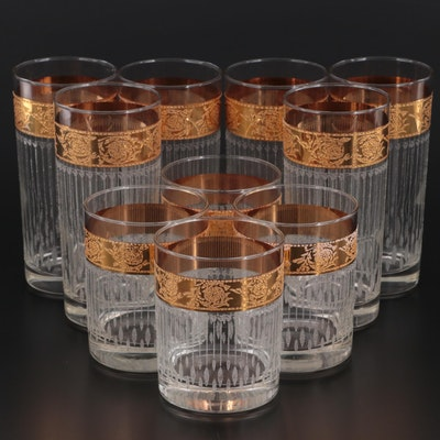 Starlyte Gilt Accented Highball and Tumbler Glasses, Mid to Late 20th C.