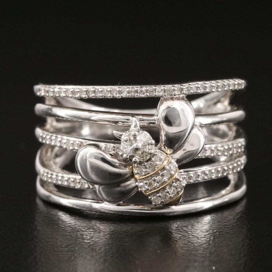 Sterling Diamond Multi-Row Bee Ring with 10K Accents