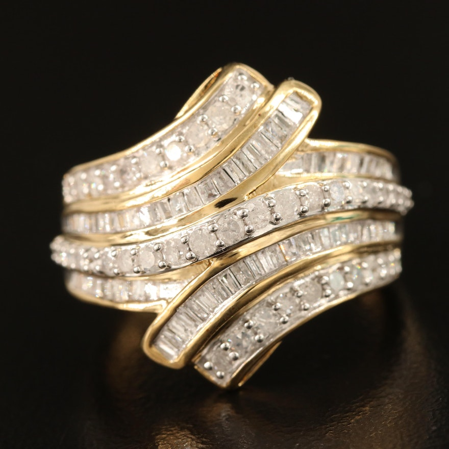 Sterling Silver 1.02 CTW Diamond Bypass Ring