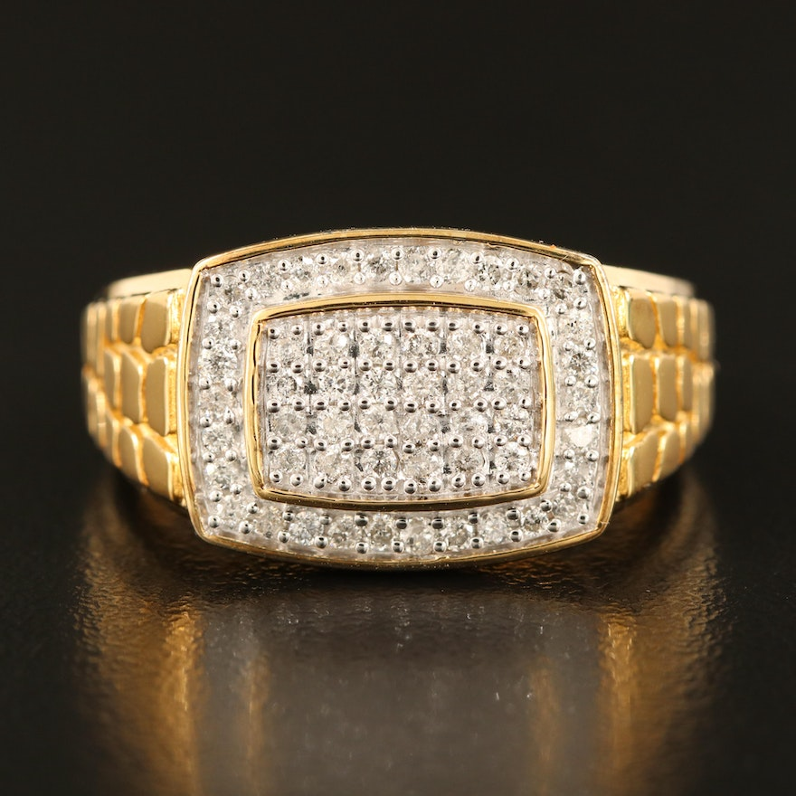 Sterling Silver Pavé Diamond Ring with Croc Effect Shoulders