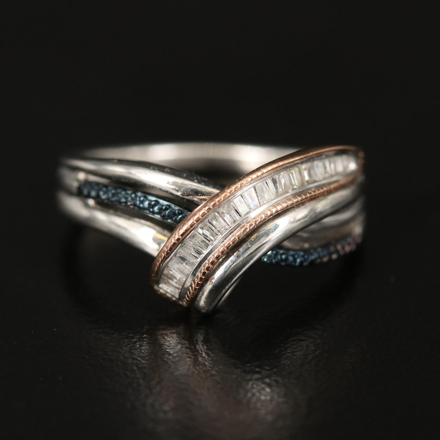Sterling and 10K Diamond Ring