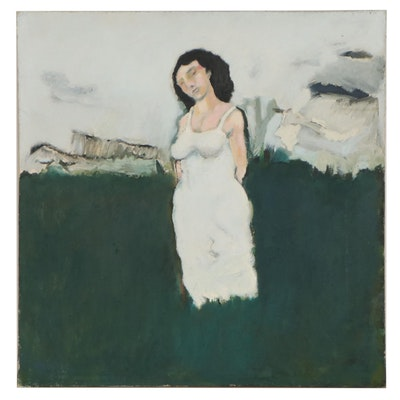 Ronald D. Newman Landscape With Figure Oil Painting