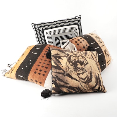 Dransfield & Ross Throw Pillow with Tiger Motif and Other Pillows