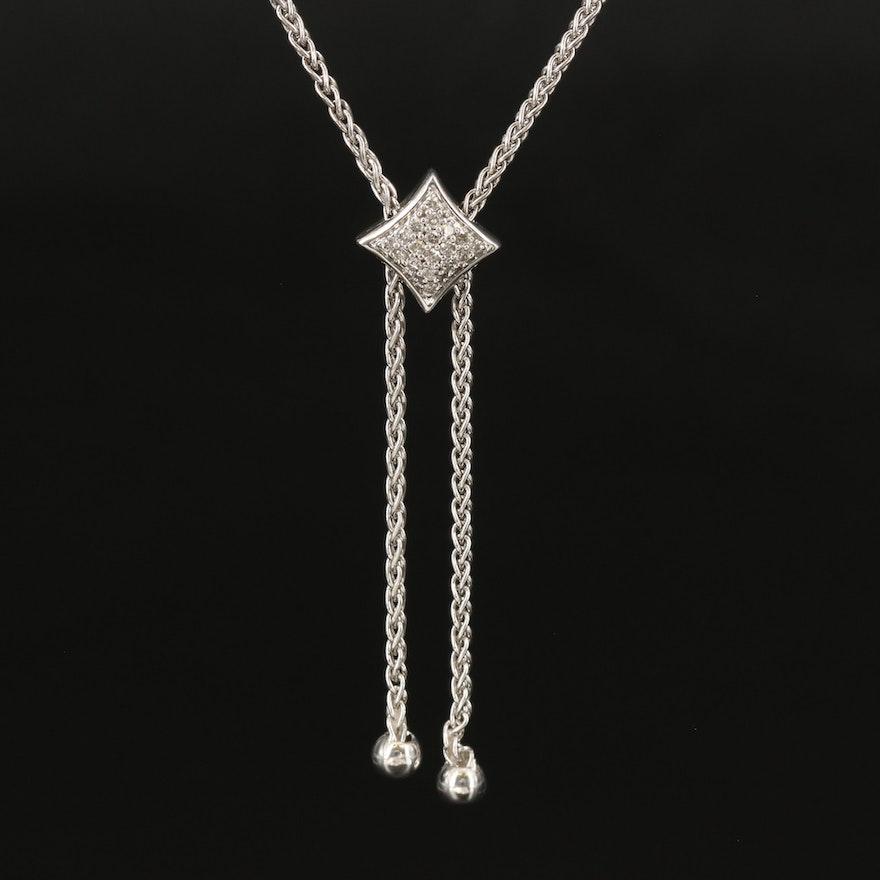 Sterling Diamond Bolo Necklace