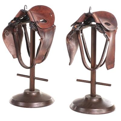 Pair of Vintage Leather Polo Saddle Barstools