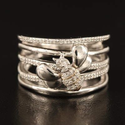 Sterling Silver Diamond Bee Ring with 10K Accents