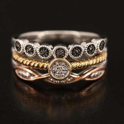 Sterling Diamond Ring with 10K Rose and Yellow Gold Accents