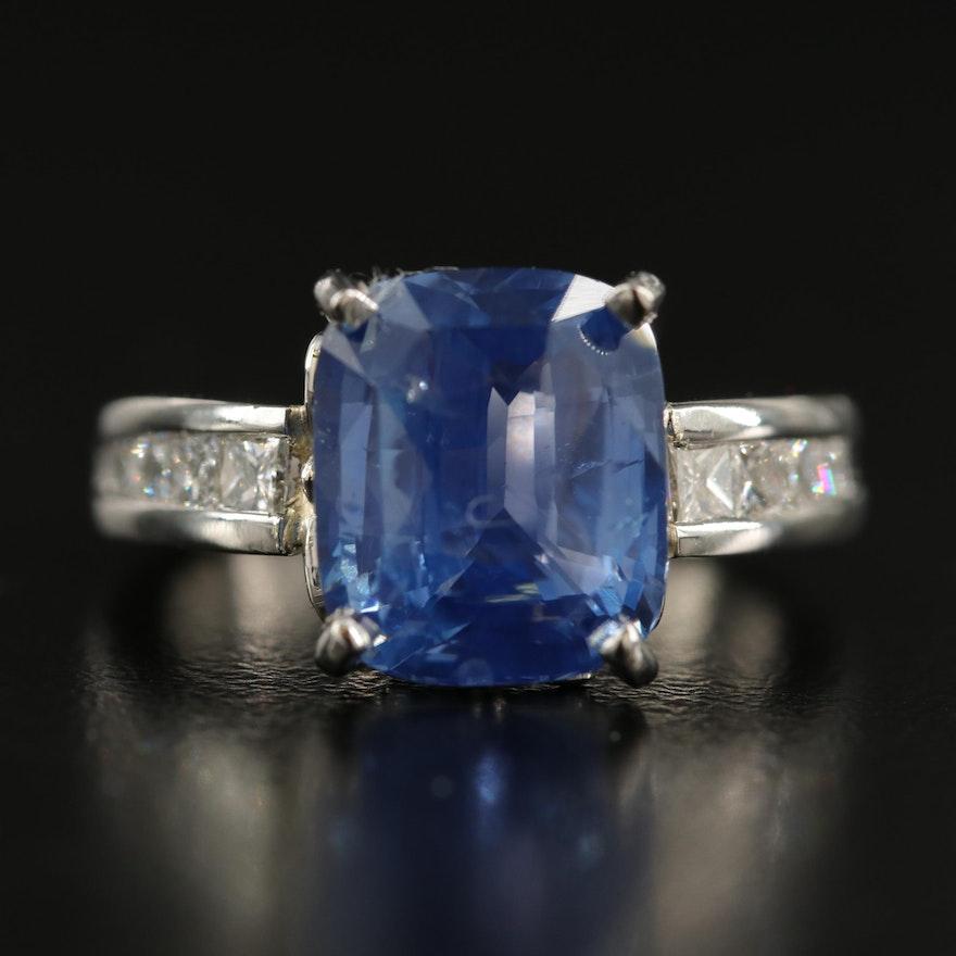 Platinum 6.18 CT Unheated Sri Lankan Sapphire and Diamond Ring with GIA Report