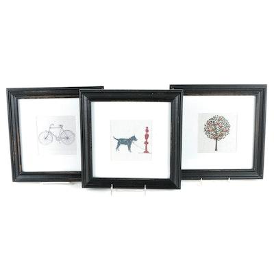 Black Framed Offset Lithographs
