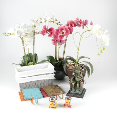 Pylones Wind Up Shakers with Potted Orchids and Other Home Decor