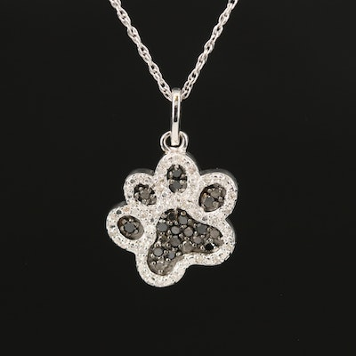 Sterling Silver Diamond Paw Print Necklace