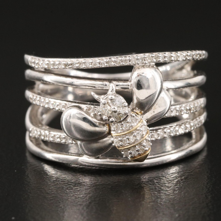Sterling Diamond Multi-Row Honeybee Ring with 10K Accents
