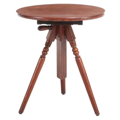 American Victorian Adjustable Walnut Tripod Table
