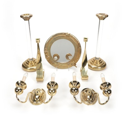 Brass Wall Mirror, Wall Sconces and Candle Sticks