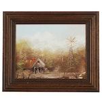 "Jo Ann Wright Oil Painting ""Texas Farm"""