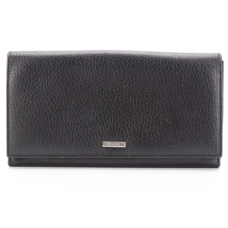 Gucci Black Grained Leather Continental Wallet with Box