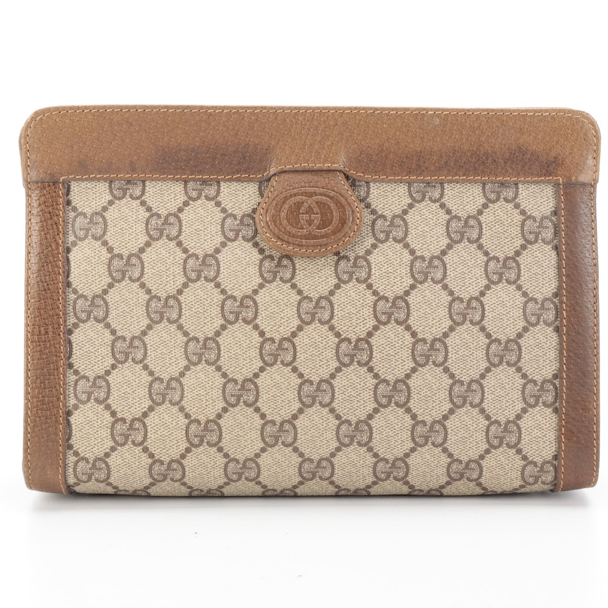 Gucci GG Supreme and Leather Clutch