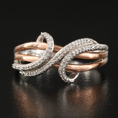 Sterling Diamond Ring with 10K Rose Gold Accent