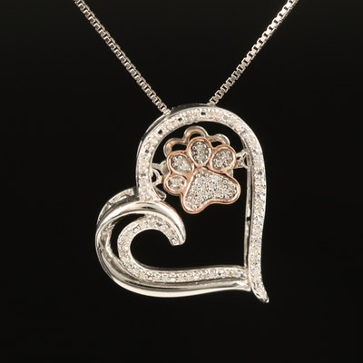 Sterling Diamond Heart Necklace with 10K Rose Gold En Tremblant Paw