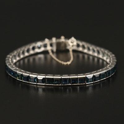 Platinum Sapphire Line Bracelet with 14K Safety Chain