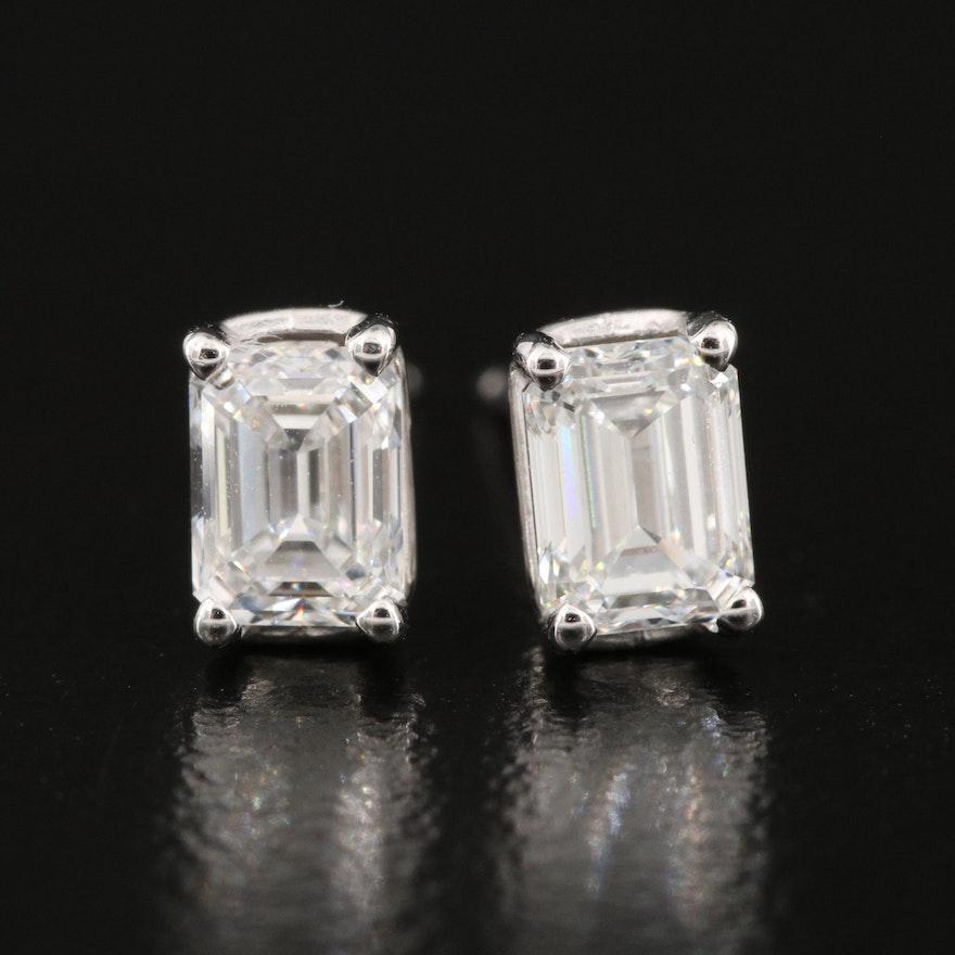 Platinum 1.01 CTW Diamond Stud Earrings with GIA Diamond Dossier Reports