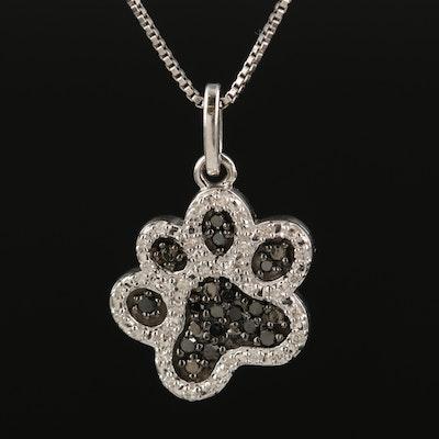 Sterling Diamond Paw Print Pendant Necklace