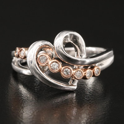 Sterling Silver Graduated Diamond Ring with 10K Rose Gold accent