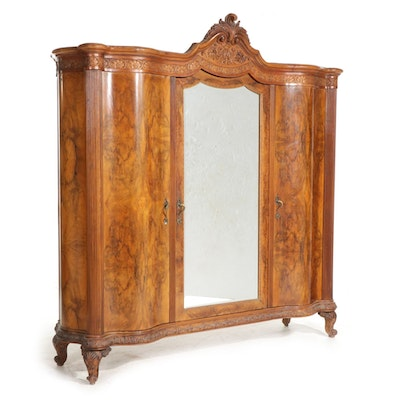 Louis XV Style Carved and Figured Walnut-Veneered Mirrored Armoire