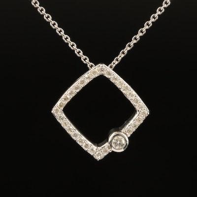 Sterling Diamond Square Pendant Necklace