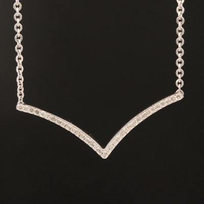 Sterling Diamond Chevron Necklace