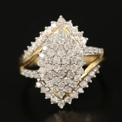 Sterling 1.02 CTW Diamond Cluster Ring