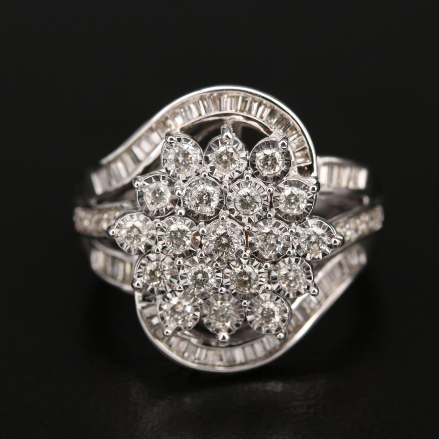Sterling 1.00 CTW Diamond Cluster Ring