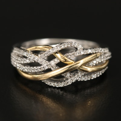 Sterling Diamond Intertwined Ring with 10K Accents