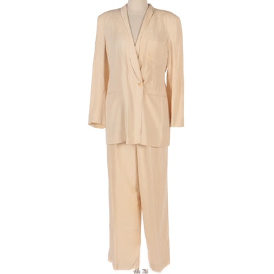 Giorgio Armani Double-Breasted Shawl Collar Pantsuit in Linen and Silk