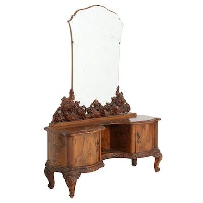 Louis XV Style Carved and Figured Walnut-Veneered Vanity Desk