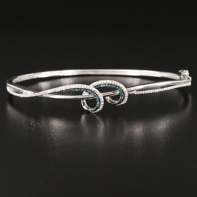 Sterling Silver Diamond Crossover Hinged Bangle
