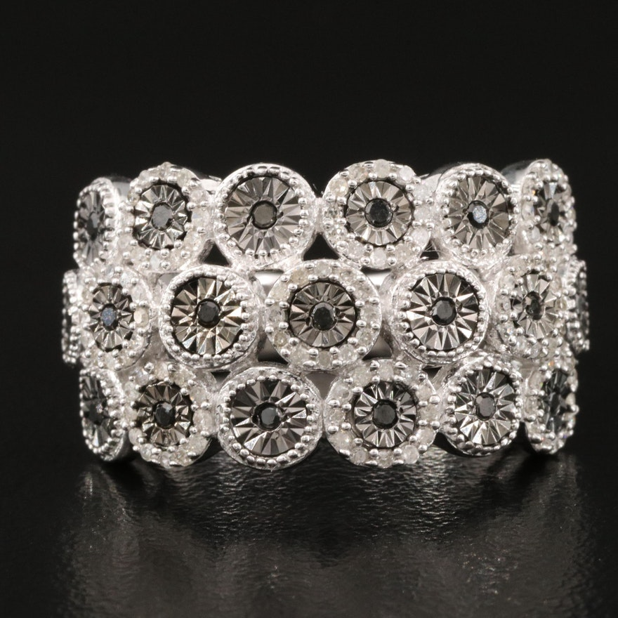 Sterling Silver Diamond Multi-Row Ring