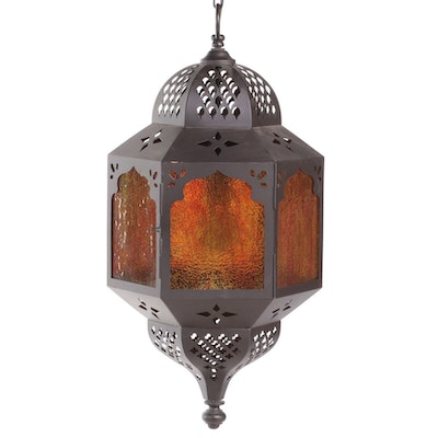 Moroccan Style Pierced Lantern Pendant in Bronzed Metal with Amber Glass
