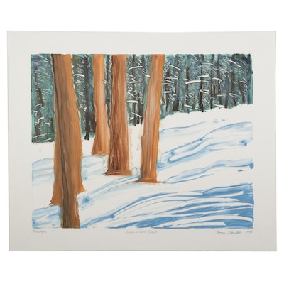 """Thomas Norulak Color Monotype """"Snow in Cook Forest,"""" 1999"""