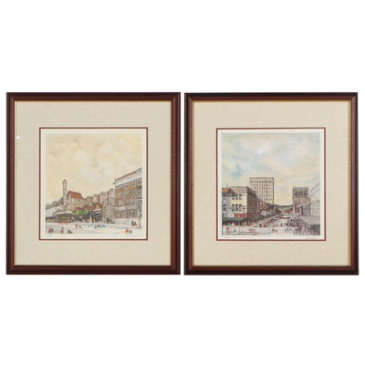 """Jack Howard Offset Lithographs """"Yesteryears"""" and Other Cityscape"""