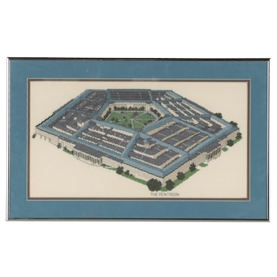 """Cross-Stitch Embroidery """"The Pentagon,"""" Late 20th Century"""