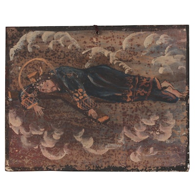 Spanish Colonial Retablo Painting Depicting Jesus Prostrate on the Cross