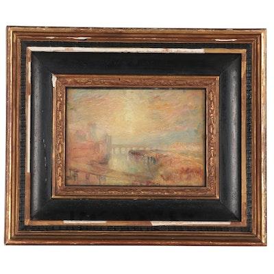 Landscape Oil Painting of Bridge, Mid-20th Century