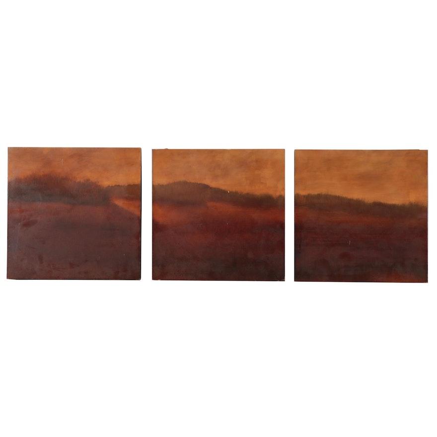A. Peterson Landscape Triptych Oil Painting, 2004