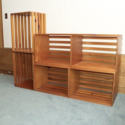 Three Stackable Pine Divided Crates