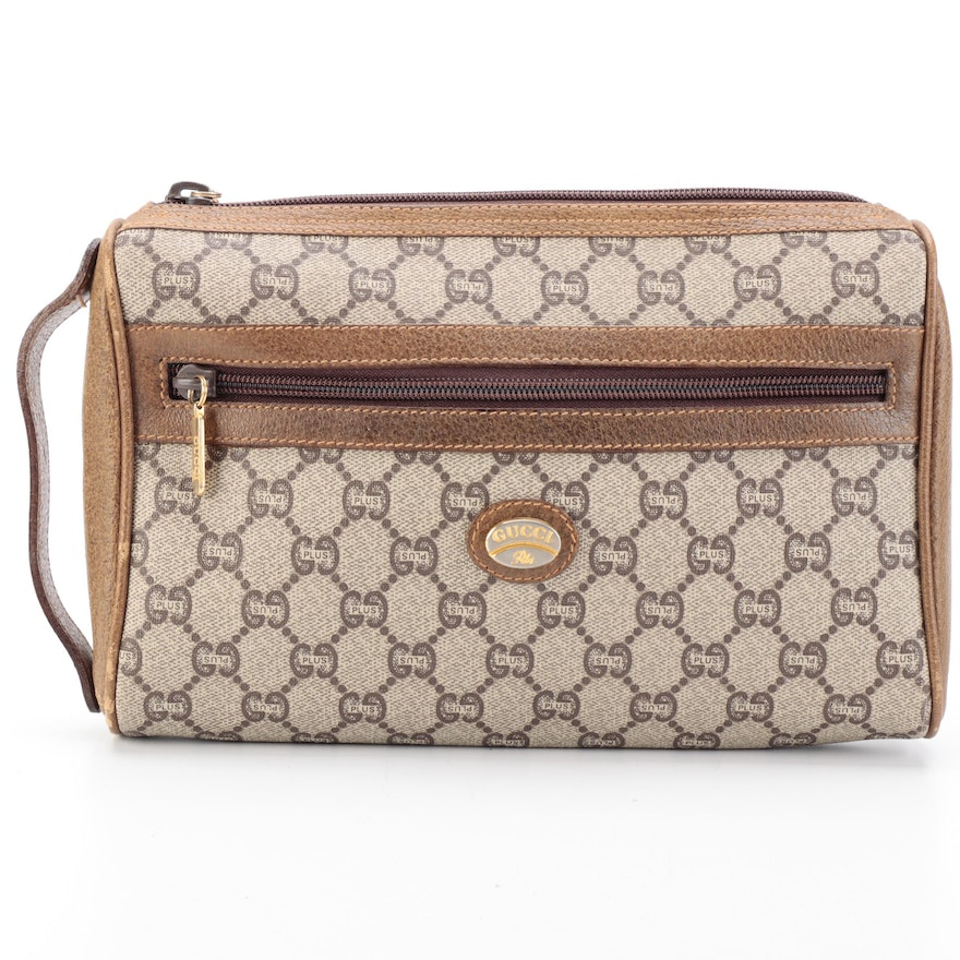 Gucci Plus Toiletry Bag in GG Plus Canvas with Brown Leather Trim