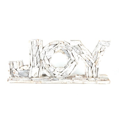 """Diane Ladd Signed """"Joy"""" Assembled Driftwood and Glitter Sign"""