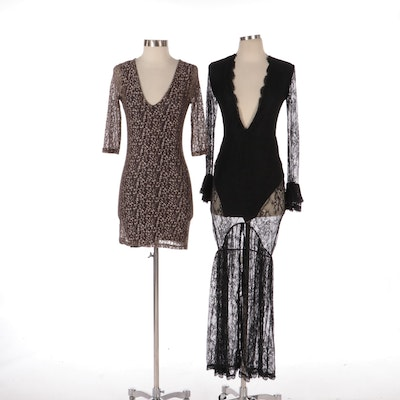 Nightcap and Other Metallic and Black Lace Dresses