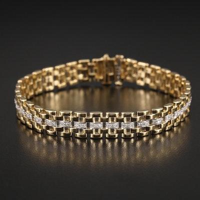 Sterling 1.00 CTW Pavé Diamond Panther Bracelet